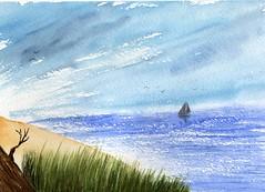 vue de la plage (ybipbip) Tags: sea sky mer seascape beach water watercolor landscape boat sand marine aquarelle sable ciel watercolour acuarela nuage bateau paysage plage aquarela aquarell acquerello akvarell