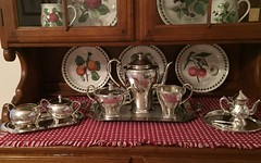 4. Not bad for $10 (Foxy Belle) Tags: set fruit silver maple tea cabinet sale garage william wm triumph portmeirion plates sterling hutch dishes roger find bargain sons