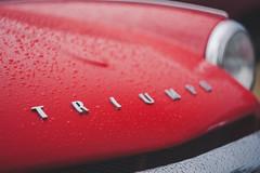 Spitfire (amakles) Tags: uk detail rain canon poland drop badge triumph raindrops british spitfire manual 58mm helios roadster poznan 44m4 450d