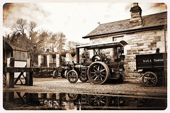 Beamish Station (Ben Matthews1992) Tags: old tractor reflection station museum yard vintage puddle compound rally transport traction engine lizzie goods historic steam marshall beamish vehicle preserved trailer cobbles thompson preservation rowley 5ton haulage 2016 coaling 65650 4nhp be2227 beamish2016 carriemore greatwarsteamfair