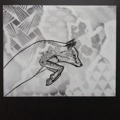 Polaroid Week Day Two (buttercup caren) Tags: blackandwhite polaroid haiku patterns fox inked expiredfilm polaroidweek roidweek inkedpolaroid