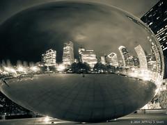 Chicago's CloudGate - The Bean - at Millenium Park 2 (Jeff Skott) Tags: november chicago skyscape illinois nightscape milleniumpark cloudgate thebean 2014