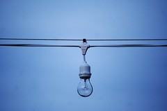 I Wish They Would Turn Them  On (sofiainspace) Tags: light sky lightbulb electric wire string