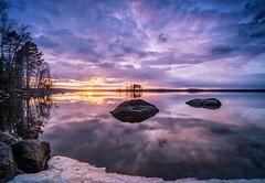 Keep calm and don't step further :-) (mattiharo) Tags: trees sunset sky sun lake water night clouds finland evening spring rocks outdoor pirkkala