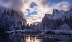 Good Moon Rising | Yosemite (v on life) Tags: california longexposure trees winter snow mountains water clouds reflections dusk moonrise yosemite yosemitenationalpark elcapitan valleyview