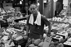 Must be a slow Sunday (fRawnco) Tags: people blackandwhite bw monochrome japan shop fruit digital 50mm prime mono nikon sunday monochromatic exotic fixed okinawa dslr fx naha owner d810