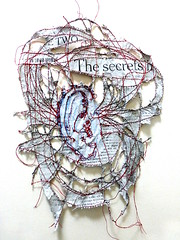 being the news (The secrets) (Ines Seidel) Tags: news altered paper lesen reading newspaper sewing yarn identity ohr ear stitching garn papier secrets hear zeitung listen sticken nhen nachrichten zuhren hren zeitungspapier