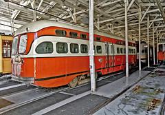 1949 trolley  Pennsylvania Trolley Museum (SteveMather) Tags: orange building car saint st 1 louis washington nikon tram clean pa dxo 1949 topaz ptm 1711 pennsylvaniatrolleymuseum d7100 opticspro pittsburghrailways