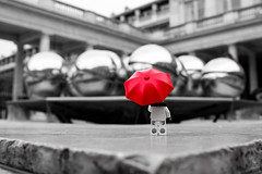 The red umbrella (B&W) (Ballou34) Tags: red bw paris fountain umbrella canon toy toys photography eos rebel flickr lego royal jardin palais fontaine boules parapluie afol 2016 minifigures toyphotography 650d t4i eos650d legography rebelt4i legographer stuckinplastic ballou34