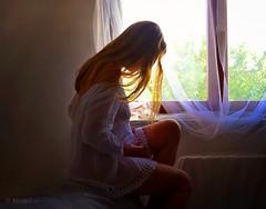Spring Feelings ... (MargoLuc) Tags: morning light portrait woman white inspiration texture me window girl backlight self hair spring mood dress blond romantic dreamy emotions skeletalmess artisawoman phoeniximmortal