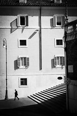 . ([ chang ]) Tags: street light shadow people blackandwhite bw white black rome roma byn blanco luz scale person persona stair shot gente negro ombra bn persone shade bianco nero luce quirinale streetshot scalinata wwwriccardoromanocom