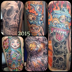Some pieces from earlier this year...thanks to Every one of my super cool and trusting clients for making my job a blast!!!! #alteredstatetattoo #pooch #tattoos