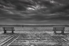 Two Benches (RichGreenePhotography.com) Tags: morning sky blackandwhite beach monochrome clouds sand santamonica symmetry pch pacificocean boardwalk benches emptiness santamonicastatebeach dogwood52 dogwood52week5