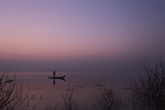 The Light of Dawn (Ravikanth K) Tags: morning pink light india mist lake reflection water dawn boat peace peaceful dry calm hues serene chennai twigs tamilnadu the solace 500px chengalpet kolavai