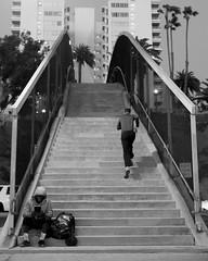 Going Up, Sitting Down (dogwelder) Tags: blackandwhite monochrome night stairs santamonica candid