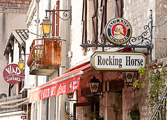 Steet Signs, Montcuq (davidedmond57) Tags: street horse france lamp wine lot rocking canopy cahors midipyrenees montcuq