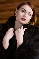 Beautiful girl in a mink coat (DinjaPhoto) Tags: white girl beautiful beauty female eyes looking ukraine furcoat mink passion kherson d7100