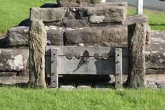 The Stocks, Bolton  by Bowland, Ribble Valley (rossendale2016) Tags: old men metal by court square wooden women iron village days lancashire safety stocks prison criminal crime valley bolton future tied middle weeks theft caught locked thieves punishment prisoner guilty locking embarrassing actions sentenced fashioned ribble deterrent bowland