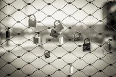 Locked heart (ElmerstarK) Tags: blackandwhite bw france love cadenas lyon noiretblanc bokeh nb amour padlock fr rhônealpes lyonconfluence