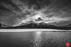 Timless beauty (Kasia Sokulska (KasiaBasic)) Tags: winter sky bw lake canada mountains clouds landscape rockies alberta banffnp vermilionlakes