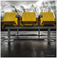 three yellow seats.... (bevscwelsh) Tags: railwaystation seats panasonic14mm olympusem5