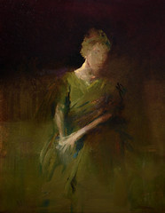 Maurice Sapiro  The Green Dress, 2015. Painting: Oil on canvas, 14 x 11 in. Via Art of Darkness: Daily Art Blog (ArtAppreciated) Tags: blur green art female portraits painting looking dress contemporary maurice fineart down blogs portraiture oil mysterious faves figurative anonymity artblogs tumblr sapiro 2010s artoftheday artofdarkness date2015 artappreciated artofdarknessco artofdarknessblog