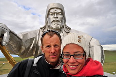 Oh Hi Ghengis! (charlottehbest) Tags: travel portrait selfportrait travelling smile statue self glasses offroad exploring roadtrip adventure explore mongolia empire leader ghengis thelongwayhome ghengiskhan easttowest mongolempire chingiskhan charlottehbest theadventuresofhenryjruffington