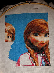 Full Blue and Cloak Outline (diedintragedy) Tags: anna art olaf frozen crossstitch sewing crafts indoor stitching sven elsa kristoff crossstitcher artprogress projectprogress arendelle crossstitchproject crossstitchprogress