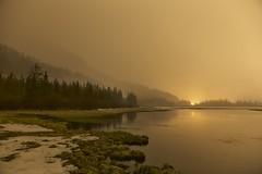 Vermillion Lake golden snow (John Andersen (JPAndersen images)) Tags: cloud snow night banff mountrundle vermillionlake