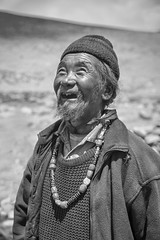 The Smiling Nomad from Tsokar, Ladakh, India bnw (Anoop Negi) Tags: portrait india white lake black smiling photography photo little tibet human actor nomad anoop bnw ladakh negi tsokar ezee123 reebo changpa