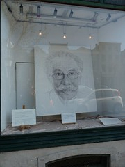 In a shop window a BIG sketch illustration of our famous Dick Bruna, who lives in Utrecht (TeenyWeenyDesign/Adrianne) Tags: utrecht domtoren cathedral oldbuildings domtower