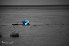 Blue can (lg-photographic) Tags: old sea bw white black color nature colors germany dark landscape deutschland nikon outdoor alt edited natur north sw landschaft farbe nordsee weiss schwarz watt dunkel farben selective tideland weis bearbeitet jadebusen drausen butjadingen selektive d5200