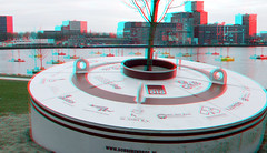 Bobbing forest Rijnhaven Rotterdam 3D (wim hoppenbrouwers) Tags: forest 3d rotterdam floating anaglyph stereo bos redcyan rijnhaven floatingforest dobberend dobberendbos bobbingforest