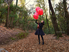 fly with them (michele franzese) Tags: wood lady forest balloons lumix panasonic garrotxa airelibre