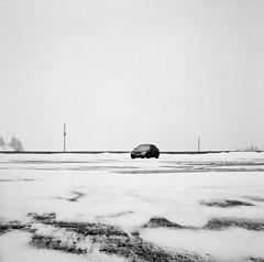 In a Parking Lot, Oregon (austin granger) Tags: snow cold film scale car oregon square one parkinglot alone space bleak highkey stark solitary emptiness correspondence gf670 austingranger