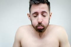 (Damien Cox) Tags: uk portrait selfportrait man male me face tongue self ego myself beard eyes nikon masculine ears moi raspberry autorretrato rasberry scruff stubble closedeyes i damiencox damiencoxcouk