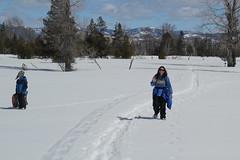 Lisa coming down the path (Aggiewelshes) Tags: travel winter snow lisa april snowshoeing wyoming jacksonhole grandtetonnationalpark 2016 gtnp taggartlaketrail