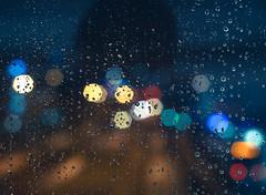 Water Drops on Bokeh (trm42) Tags: winter urban window wet glass rain dark lights droplets drops focus mood bokeh streetlights outoffocus rainy oof lasi ikkuna pisarat