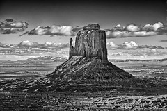 East Mitten Butte (Explored) (Daniel Schwabe) Tags: travel arizona bw usa rock butte desert az monumentvalley eastbutte