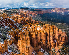 Bryce Canyon 18 (MarcCooper_1950) Tags: trees red sky orange snow colors clouds landscape utah nikon scenery rocks vivid canyon cliffs hills southern boulders hoodoo bryce rainfall hdr formations lightroom mounatins brycecanyonnationalpark geologic d810 marccooper