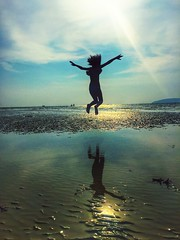 The takeoff~ Krabi (~mimo~) Tags: travel sunset holiday reflection beach girl mobile thailand happy freedom jump krabi iphone