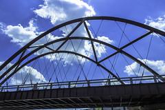 Bloomingdale Trail bridge east pic19 4-25-2016 (Artemortifica) Tags: street bridge sky chicago cars clouds buildings construction blueline crane bikes graffity milwaukee western trucks damen