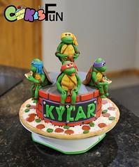 Ninja Turtle Birthday (bsheridan1959) Tags: cake pizza birthdaycake superheroes ninjaturtles fondant kidscake
