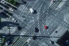 Red Car - 91 (Aerial Photography) Tags: by munich mnchen traffic outdoor aerial m diagonal verkehr deu redcar luftbild diagonale luftaufnahme obb giesing bayernbavaria deutschlandgermany rotesauto tegernseerlandstrase fotoklausleidorfwwwleidorfde grnwalderstrase 010036433 26042000