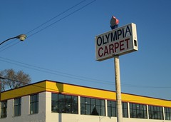 Olympia Carpet, Diversey & California, Chicago (katherine of chicago) Tags: signs chicago avondale logansquare olympiacarpet