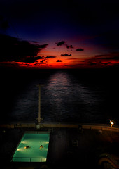 Swim at Sunset (john.aston85) Tags: ocean sunset sea sky swimming nikon outdoor vibrant calm swimmingpool aurora po cruiseship