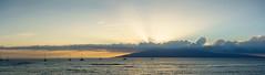 sundown over lahaina roads (dolanh) Tags: ocean sunset panorama boats hawaii restaurant maui lahaina lahainafishcompany lahainaroads