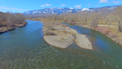 Islands in the Stream (that is what we are) 2 (Dan Beland) Tags: blue usa green art nature water sunshine river island unmodified stream unitedstates artistic bluesky idaho riverbed northamerica rockymountains flowing salmonriver bushes idyllic baretrees discoverypark gravel riverrocks sunnyday unedited drone fluffywhiteclouds nofilters perfectweather noadjustments redwillows dji beaverheadmountains straightoffthecamera salmonidaho salmonrivervalley quadcopter lemhicounty phantom3professional bitterrootmounains sufacelevel