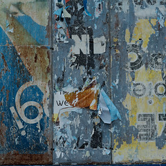 Trittico ( random decollage) (sandroraffini) Tags: urban abstract metal paper rust chaos graphic random decay glue details advertisement bologna reality surfaces decollage