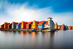 Reitdiephaven, Groningen (adrianchandler.com) Tags: longexposure houses urban lake holland building water netherlands dutch architecture canal spring colorful europe afternoon exterior bright outdoor daytime colourful groningen waterway reitdiephaven